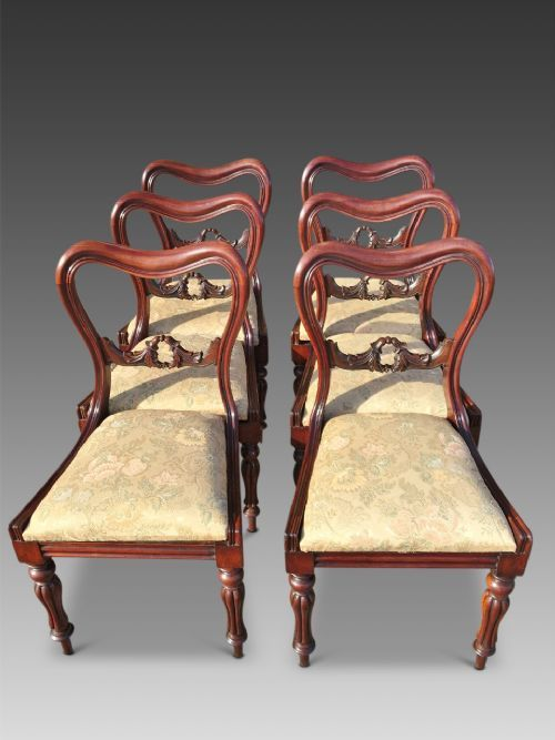 victorian dining chairs set of six c 1850