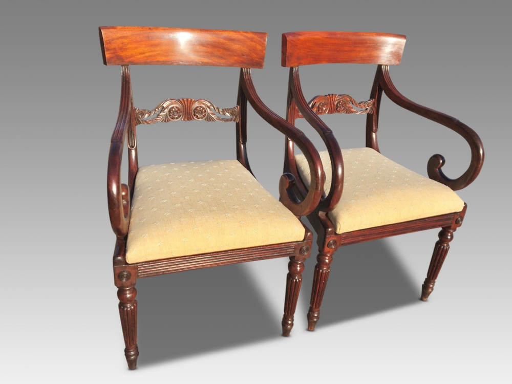 pair of mahogany armchairs william 1v english c 1830