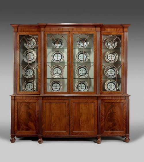 a regency period breakfront bookcase of small size