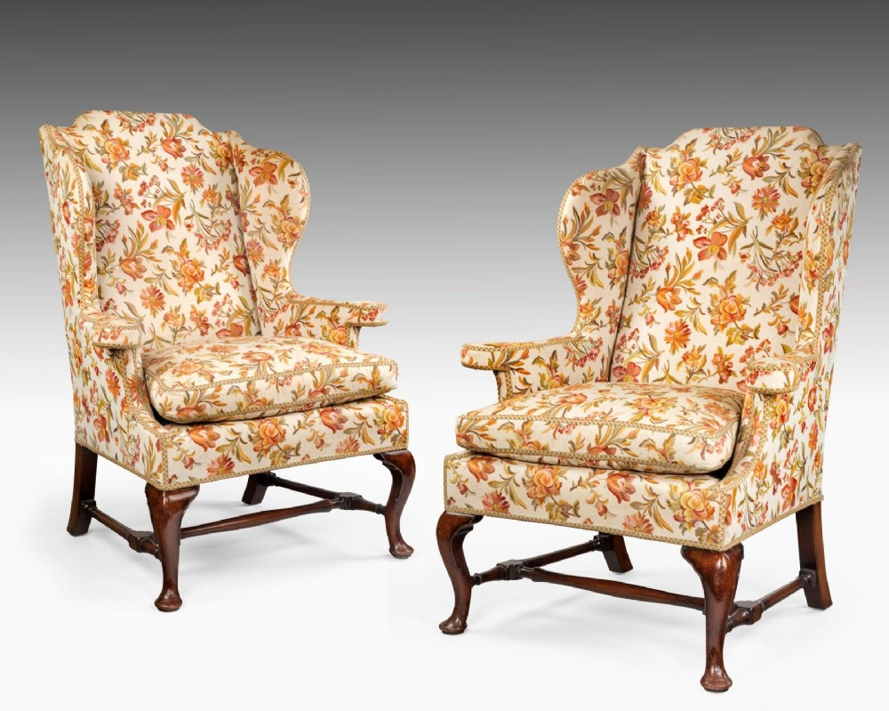 a pair of large george ii style wing chairs
