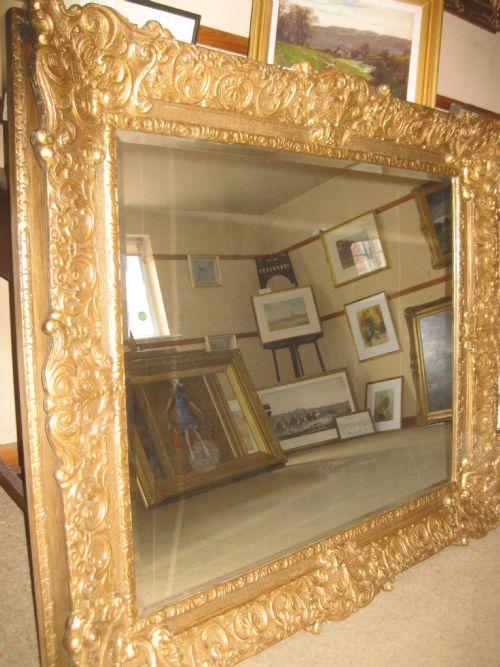 Large, Heavy Gilt Framed Mirror. Frame Circa 1830 48.5\