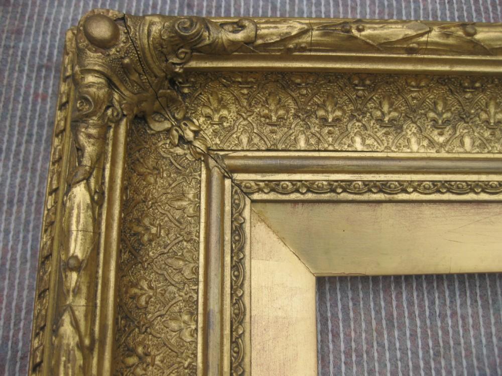 Large Gold Frame Mirror: Large Antique Victorian Circa 1870 Gilt Gold Leaf Picture