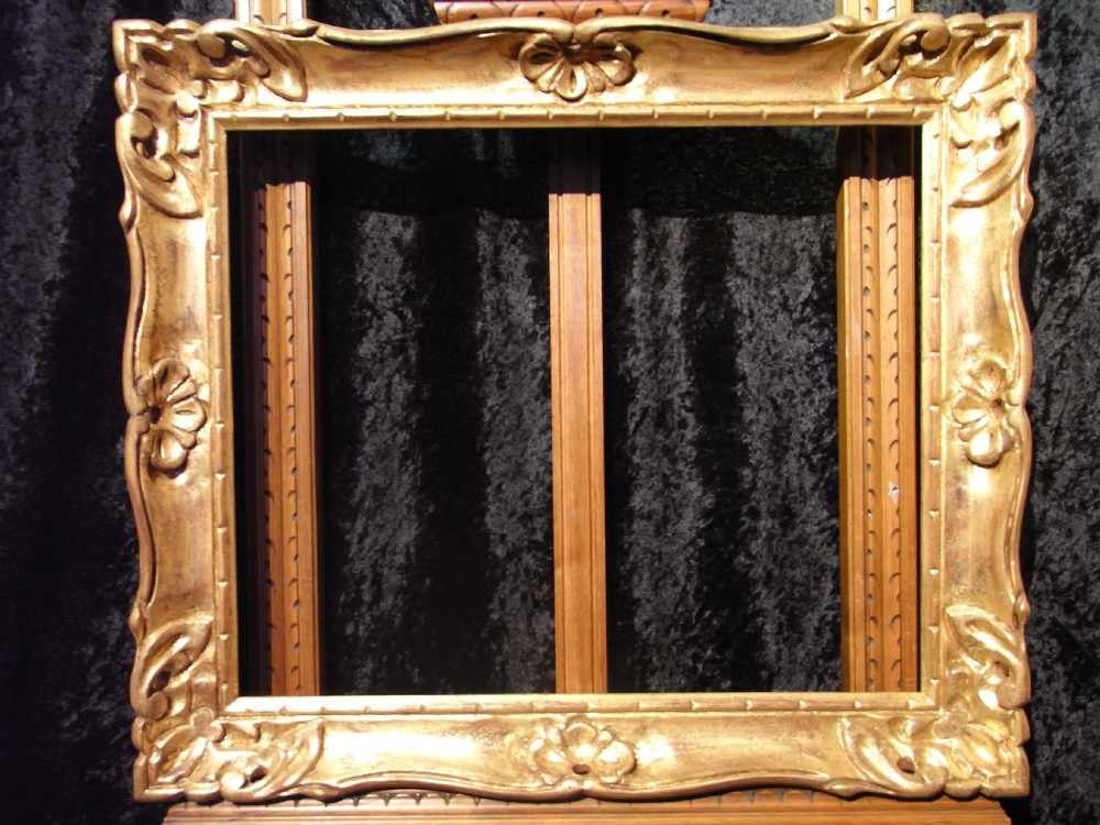 Early 20th century 16 x 20 carved gilt gold wood picture for Rococo style frame