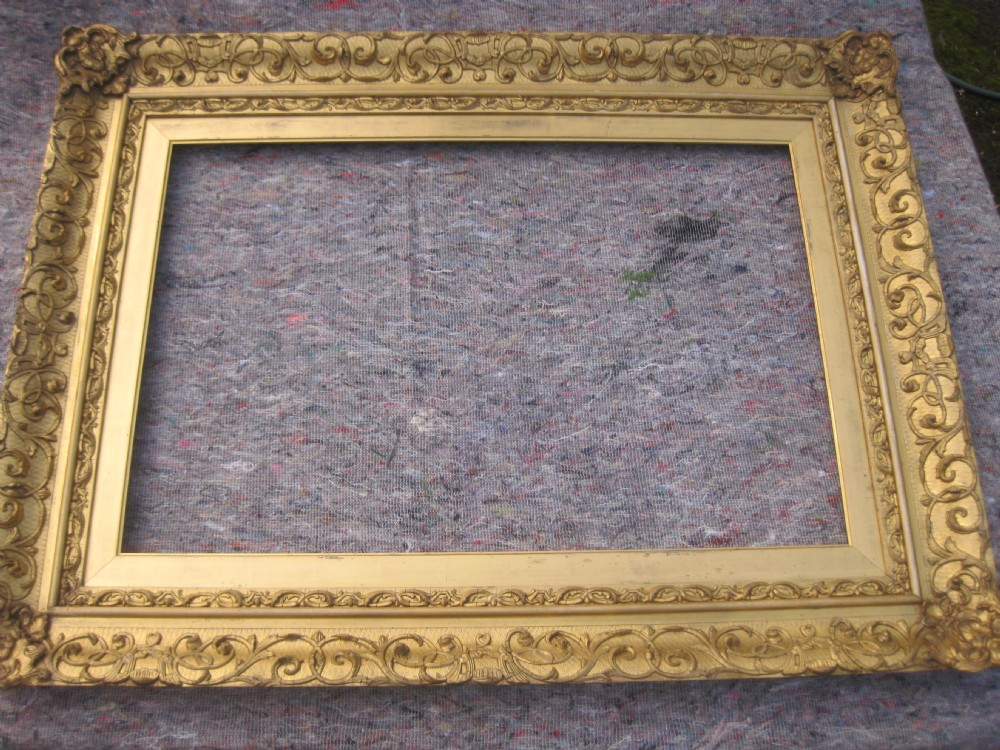 large 24 x 36 mid 19th century victorian gilt gold leaf wood and gesso picture frame