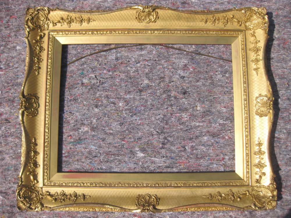 antique 19th c 18 x 24 victorian gilt gold leaf rococo swept picture frame