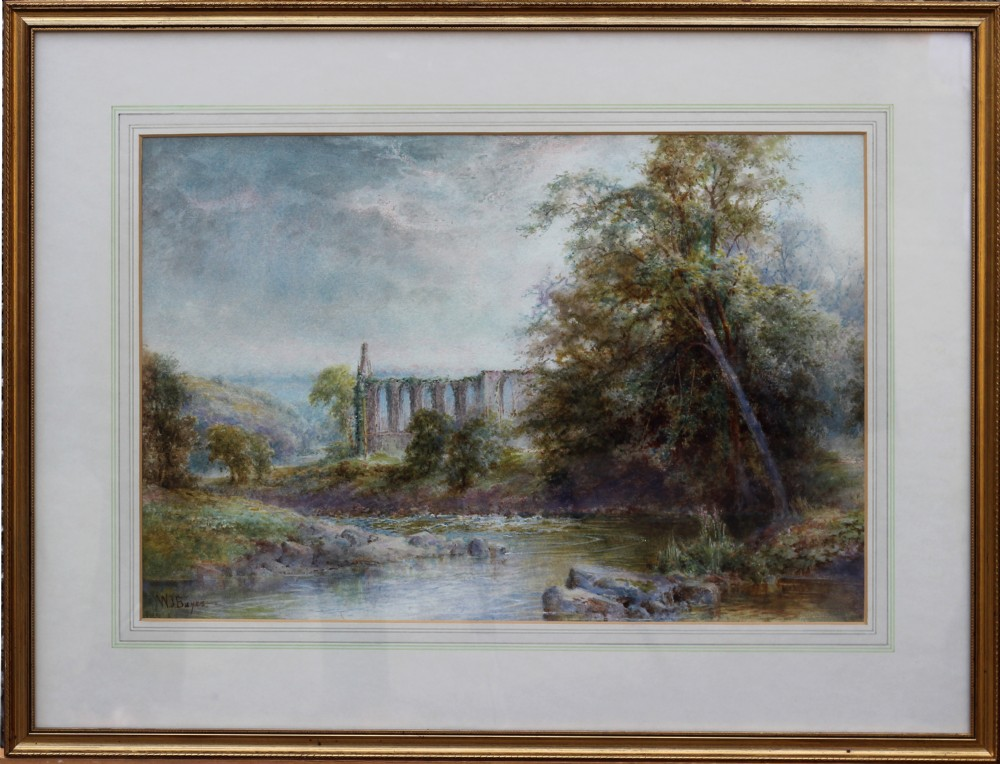 walter john bayes rws watercolour of 'bolton abbey and the river wharfe yorkshire'
