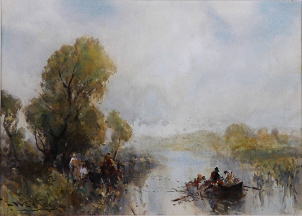 frank wasley a quiet backwater thames watercolour