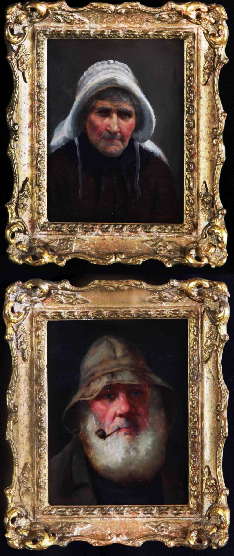 dw haddon rba old cornish fisherfolk pair oil portraits
