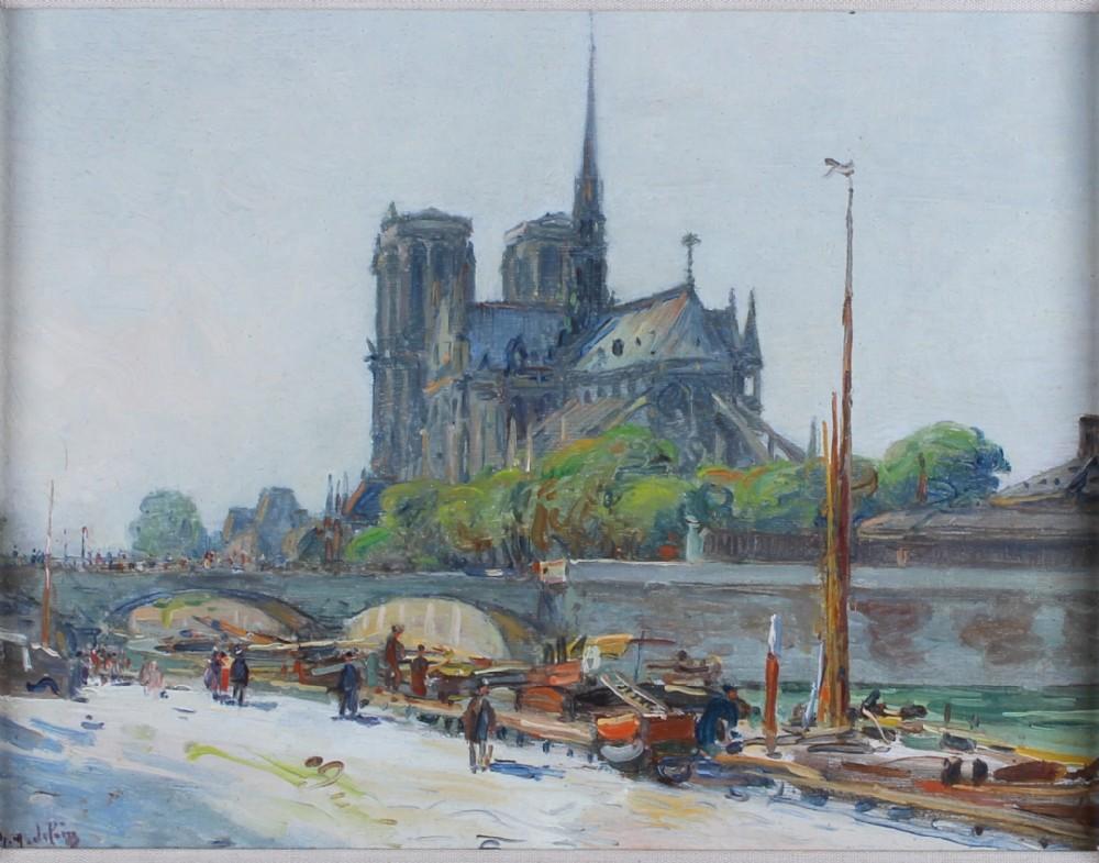 gustave madelain notre dame de paris french oil painting