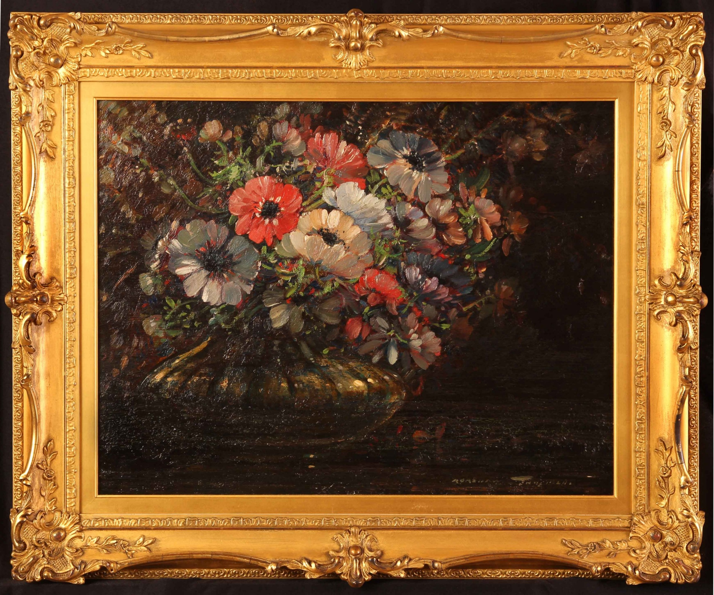 kershaw schofield still life of anemones oil painting