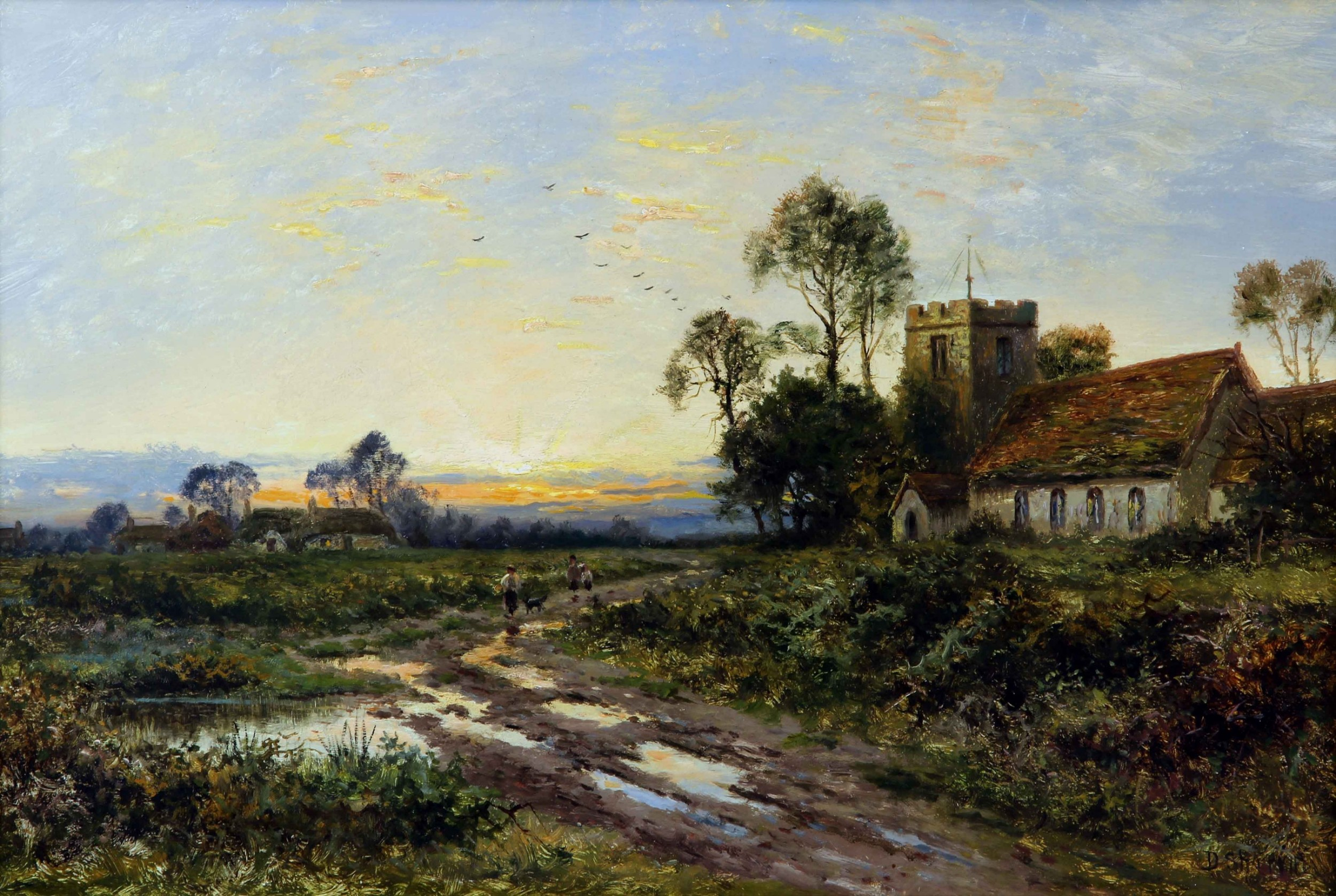 daniel sherrin end of the day an english rural landscape oil painting