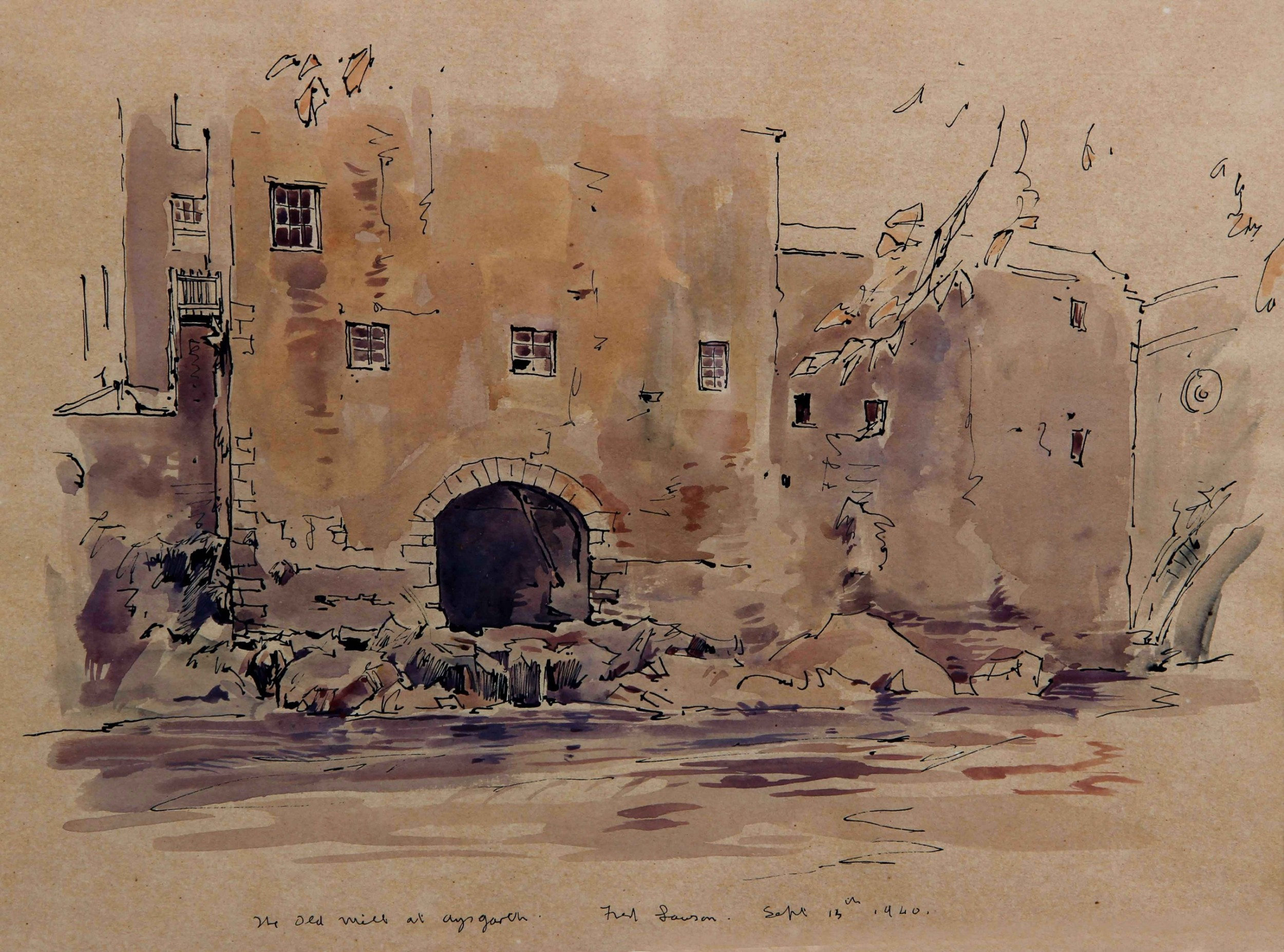 fred lawson the old mill at aysgarth watercolour drawing