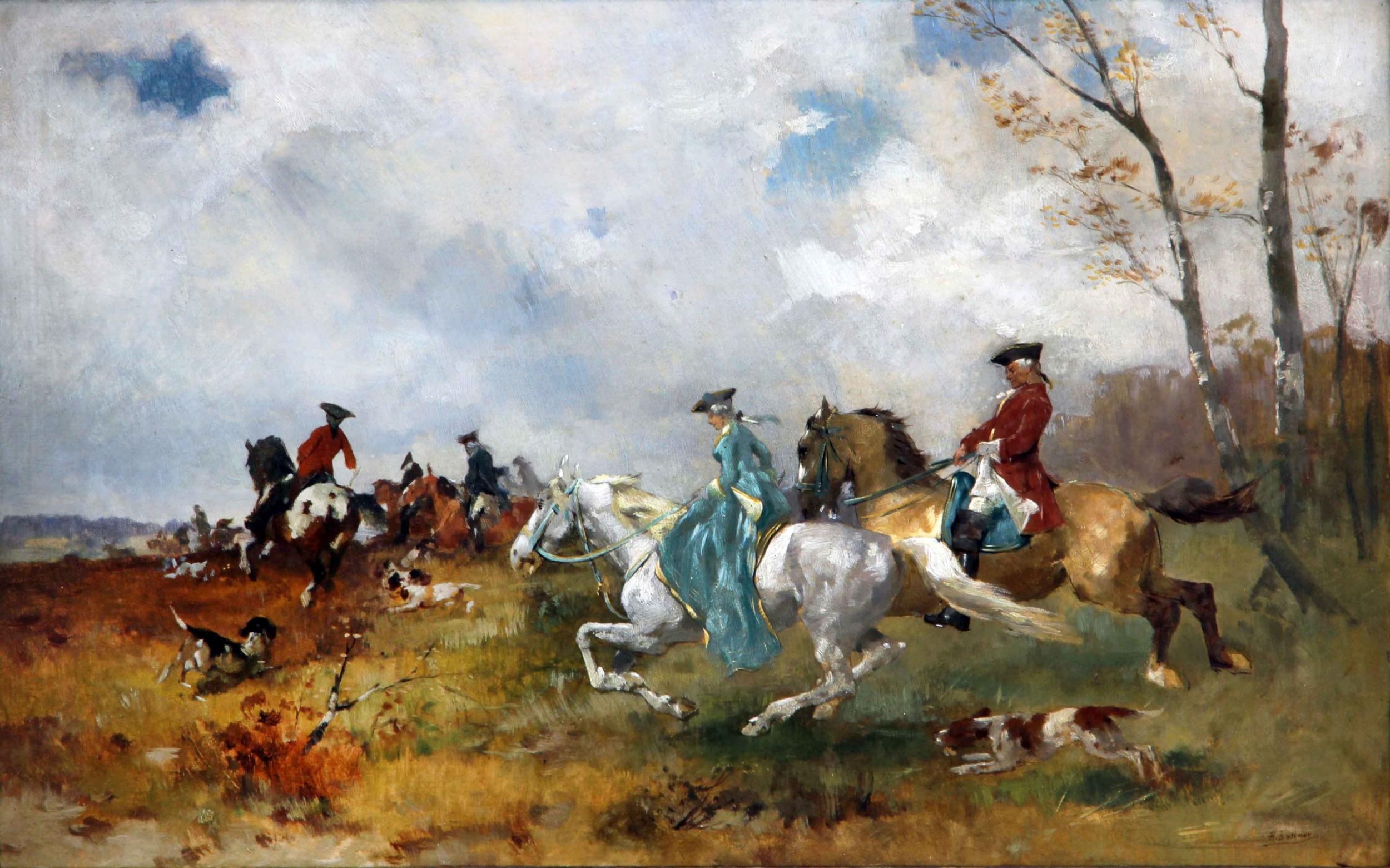 hans buttner hunting oil painting sporting landscape