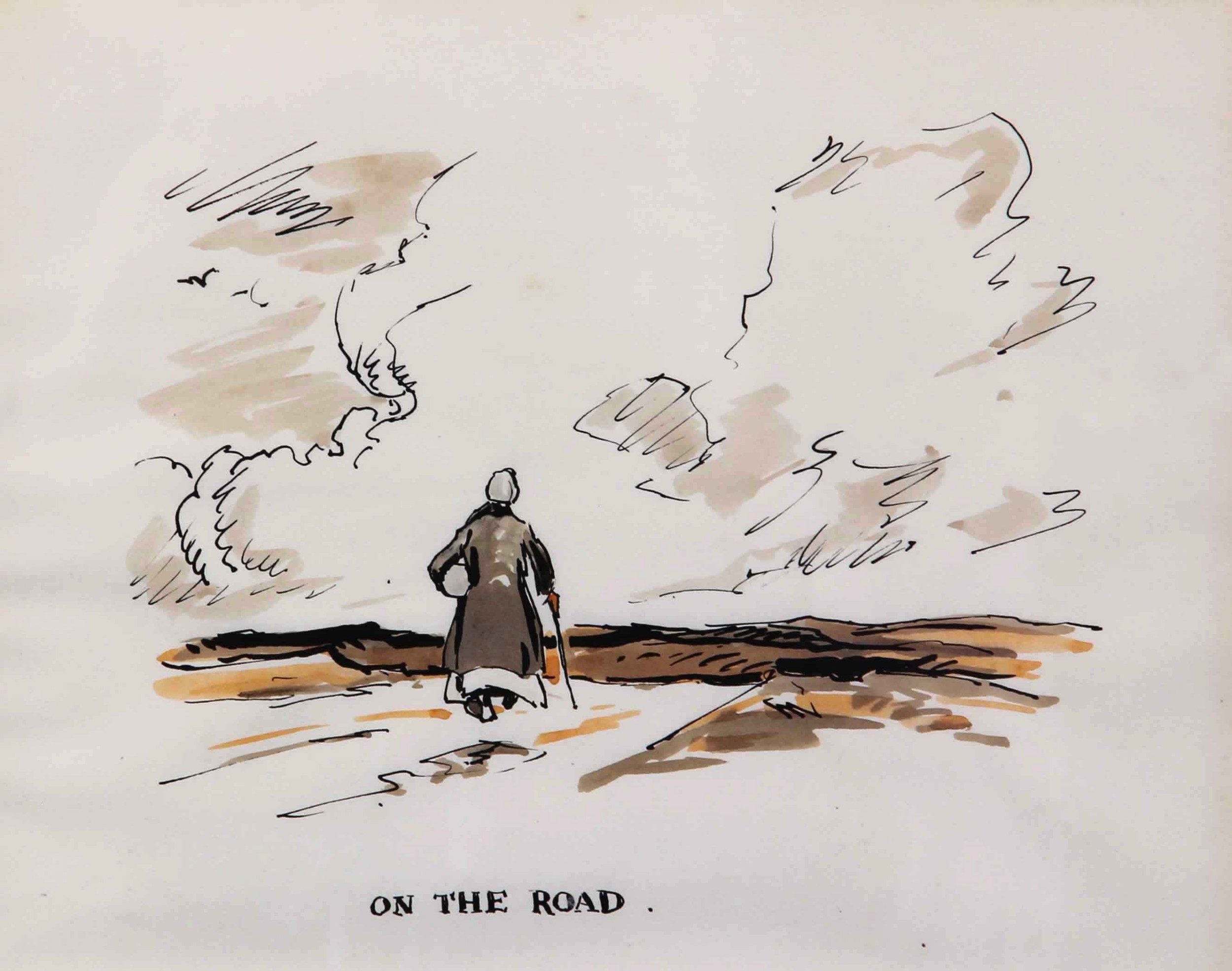 fred lawson on the road watercolour landscape drawing
