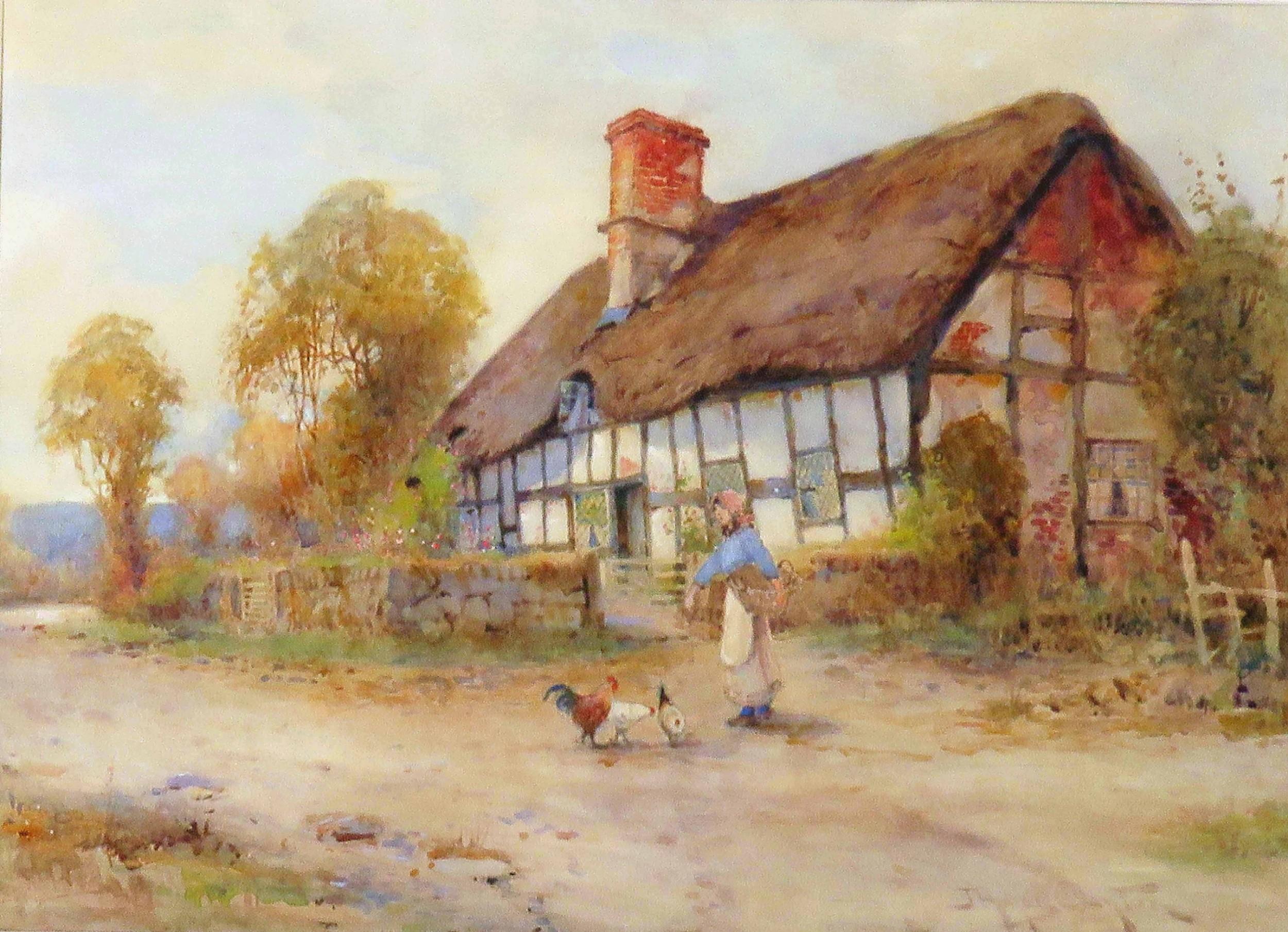 james hughes clayton girl feeding hens watercolour landscape