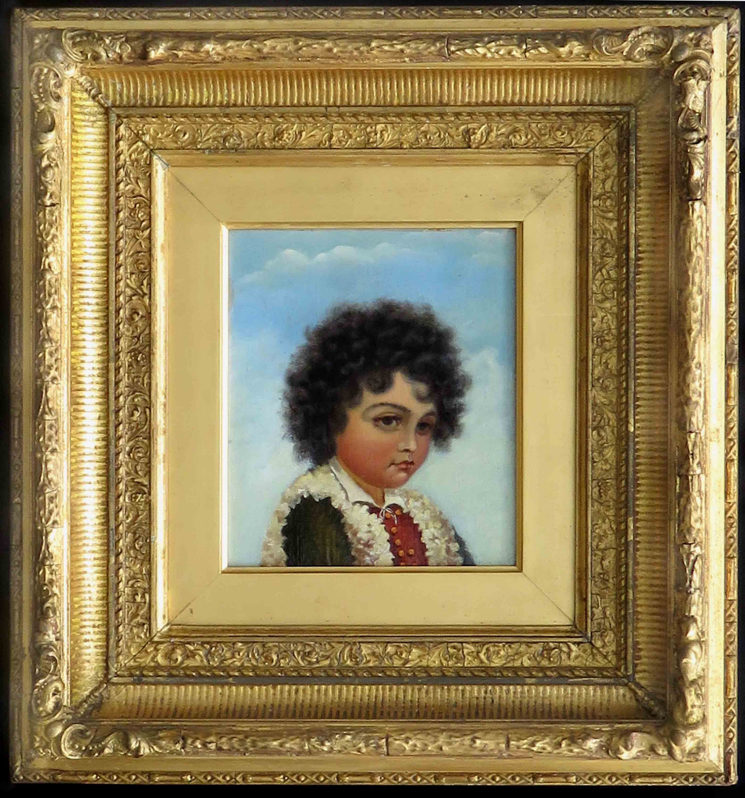 italian school romany boy italian oil painting portrait