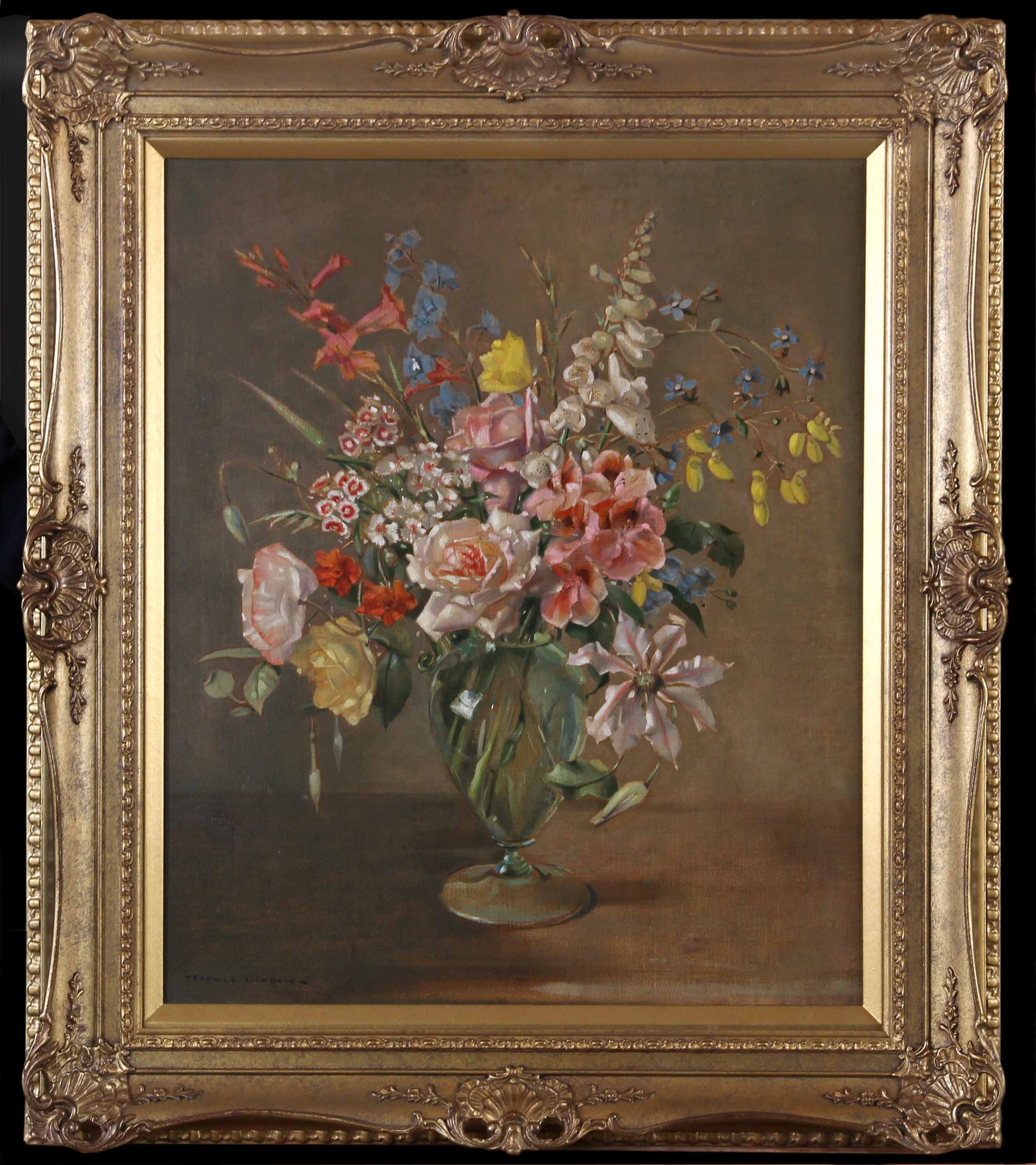terence loudon a mixed bunch good oil painting still life