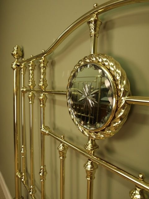 superb victorian brass bow ended bed 4ft 6 - photo angle #3