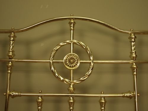 superb victorian brass bow ended bed 4ft 6 - photo angle #4