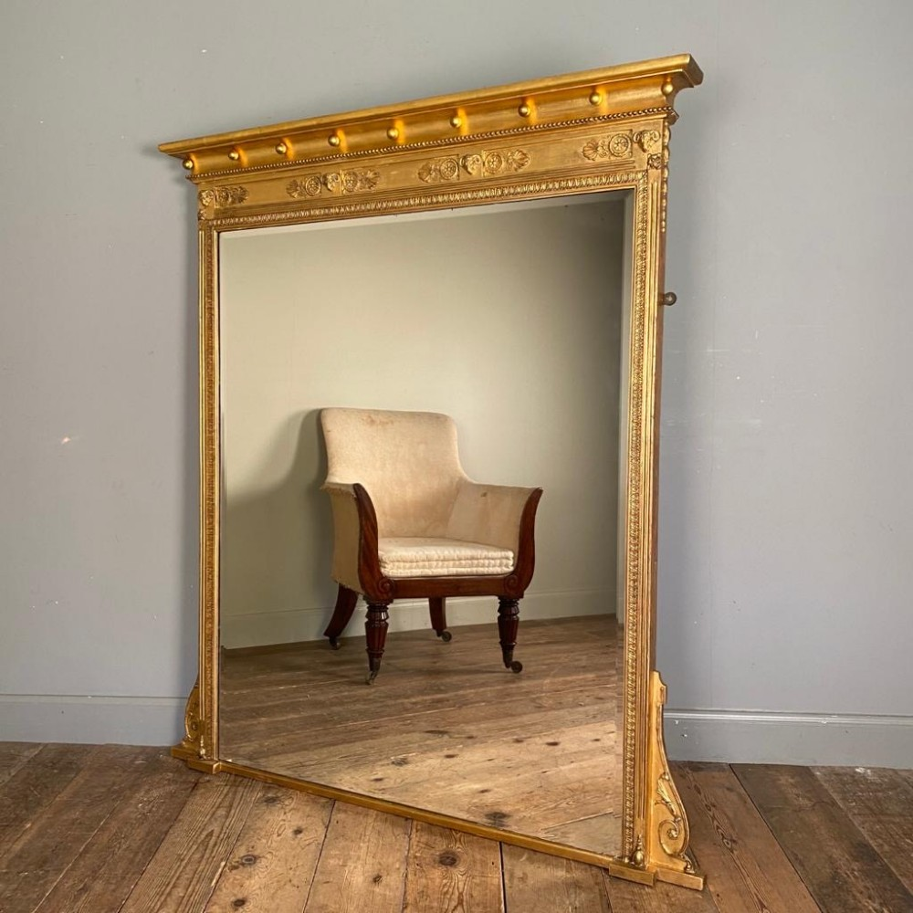 19th c large english giltwood overmantle mirror