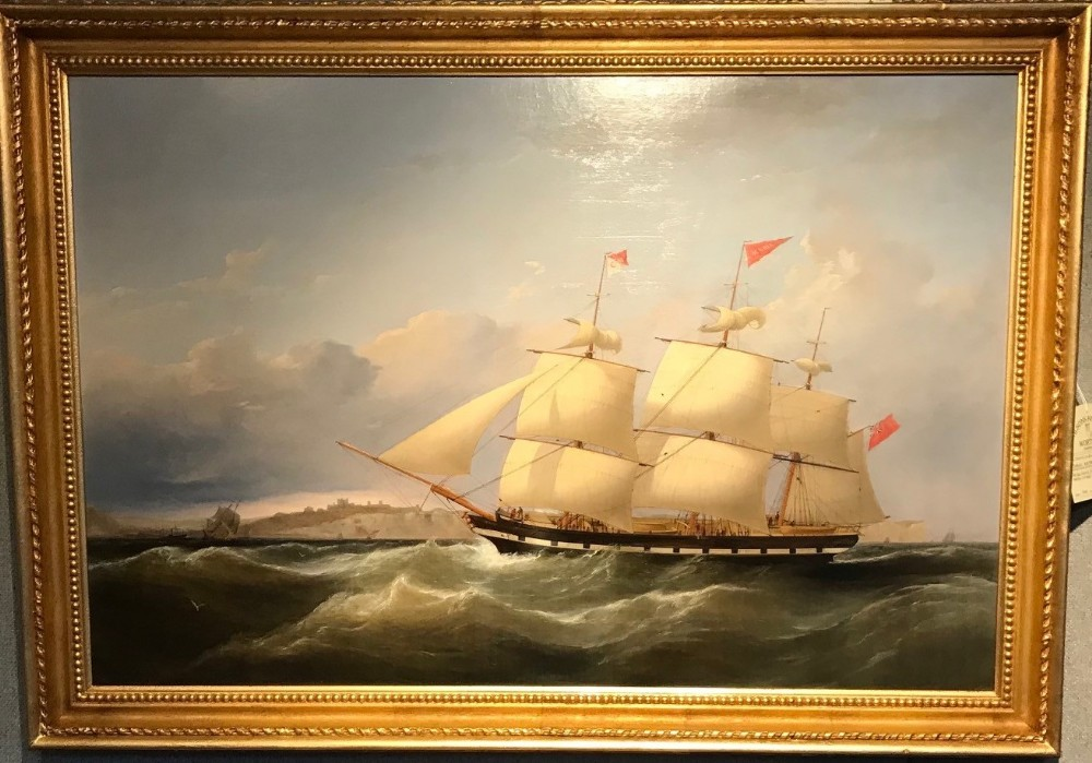 an oil painting 'the acadia off dover ' by samuel walters 1811 1882