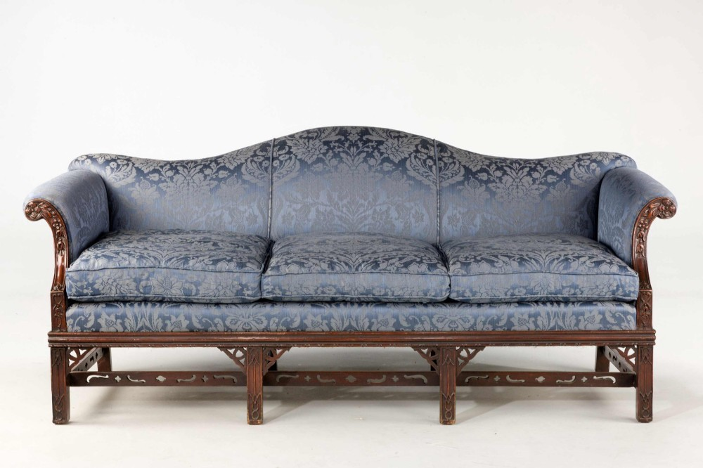 Chippendale Style Mahogany Framed Camel Back Sofa