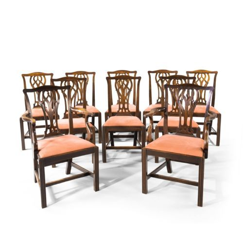 a good set of 10 early 20th century chippendale style mahogany framed chairs