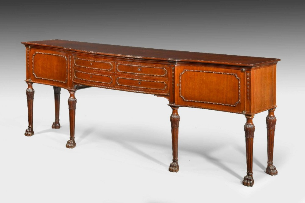 a chippendale revival serpentine mahogany sideboard