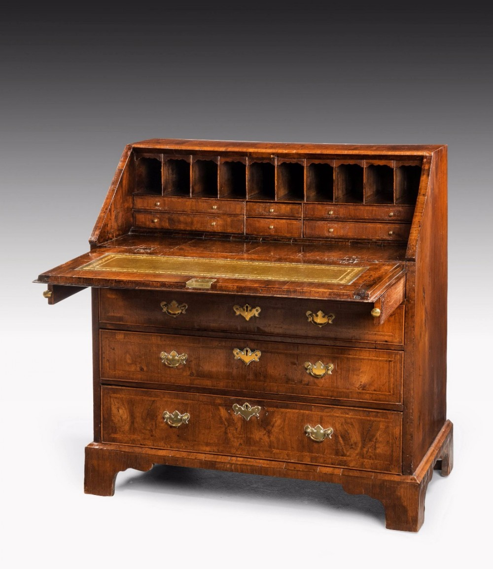 mid 18th century walnut bureau with excellent overall colour