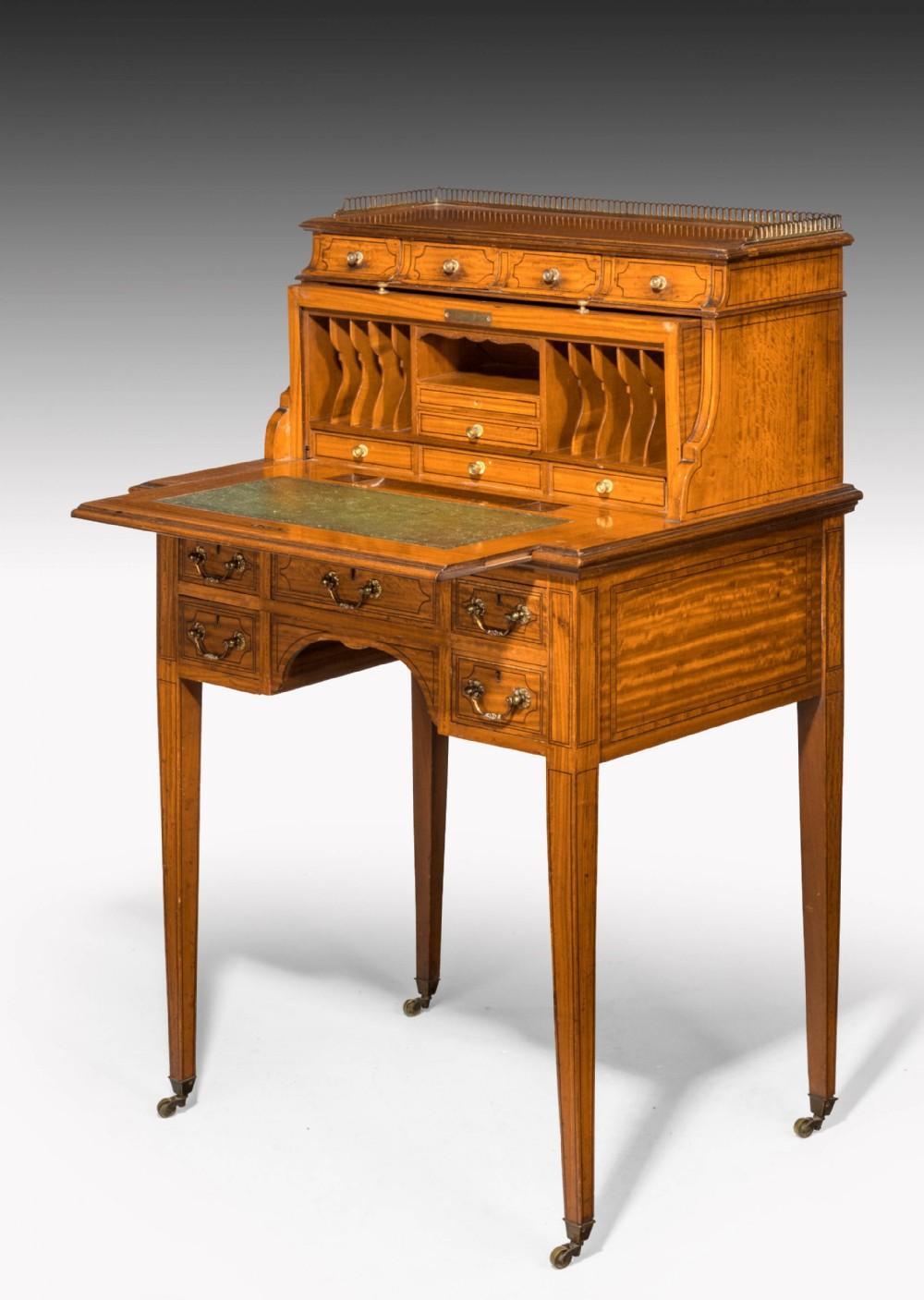 edwardian period satinwood and mahogany ladies cylinder bureau