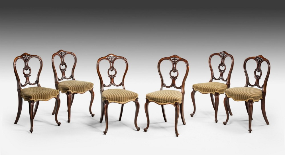 set of six midvictorian rosewood balloon back chairs