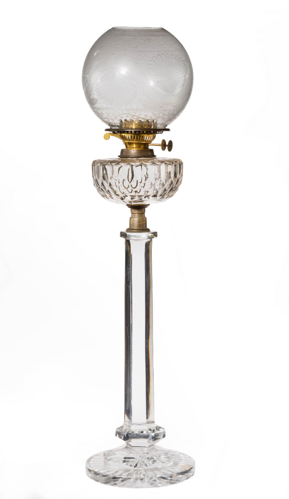 late 19th century cut glass large oil lamp with a facet cut bowl