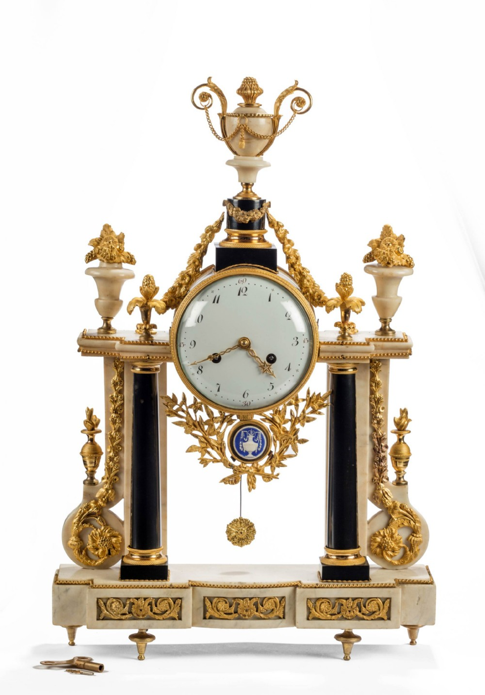 a fine quality 18th century french marble and ormolu portico clock