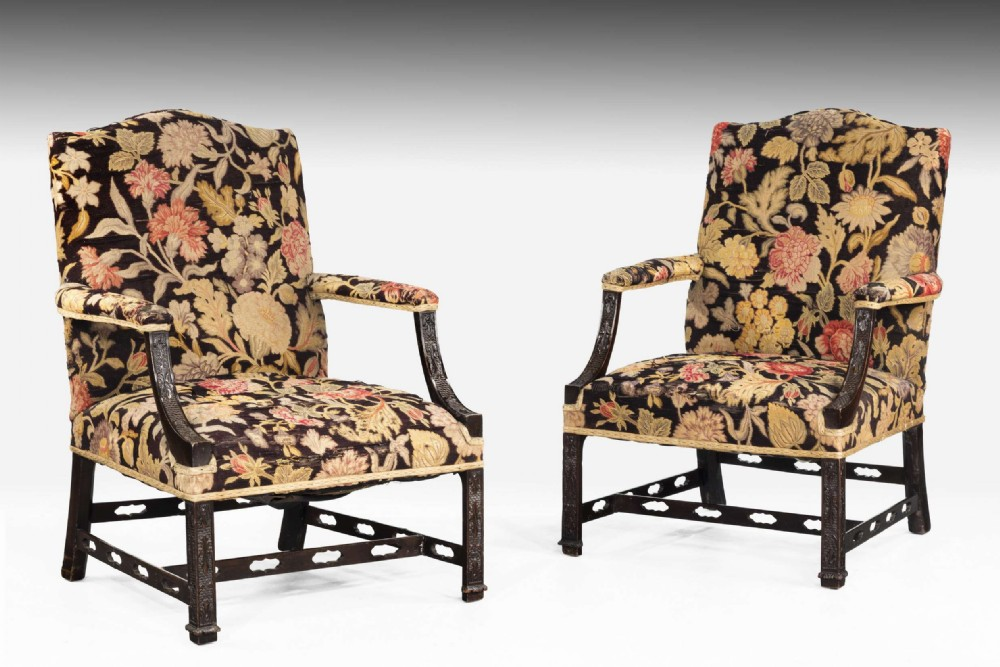 pair of chippendale style mahogany gainsborough chairs