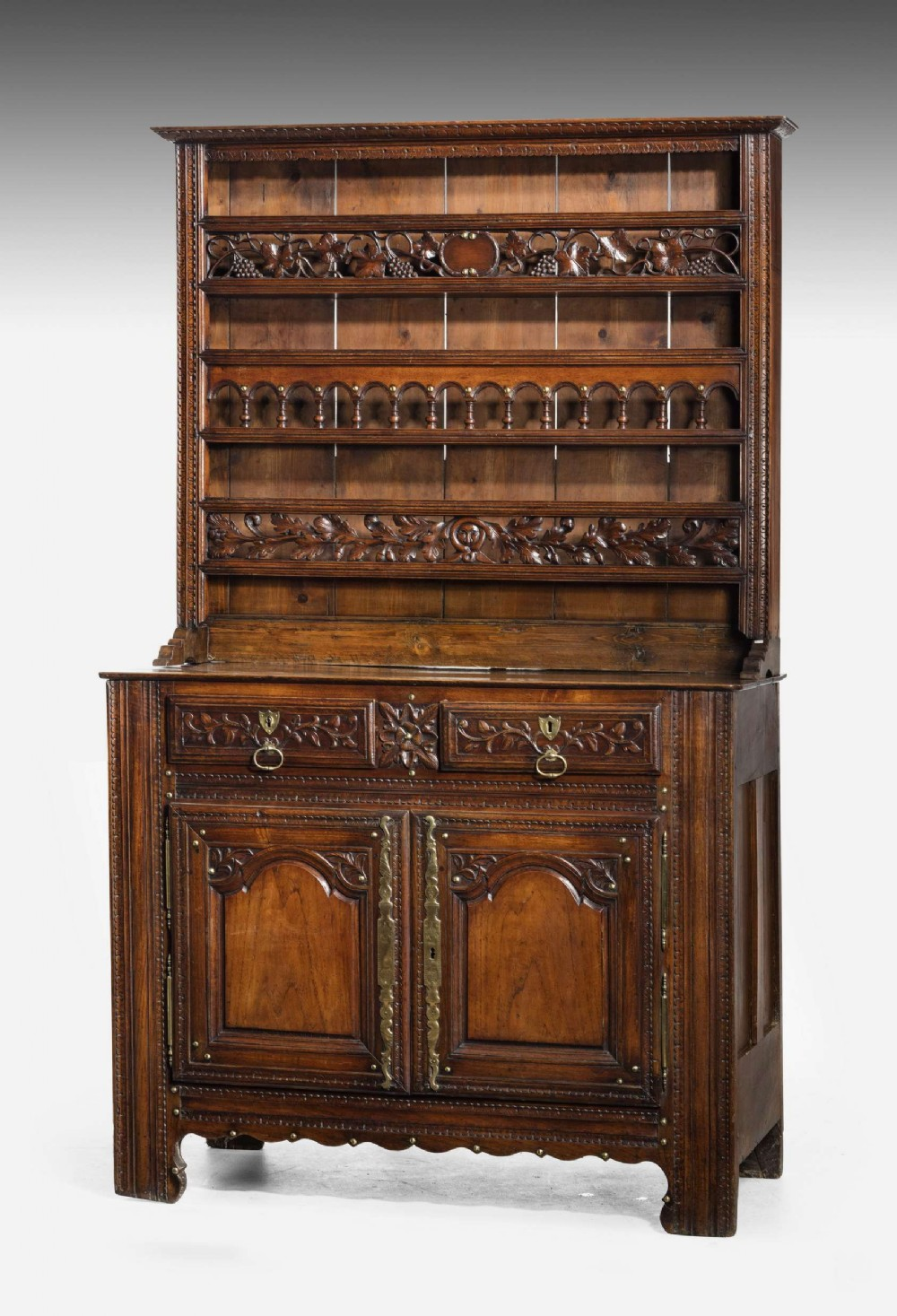 mid 18th century french chestnut dresser and rack