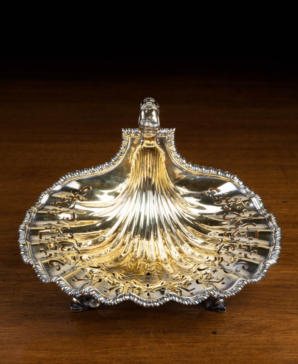an exceptionally fine early 20th century silver gilt bonbon dish