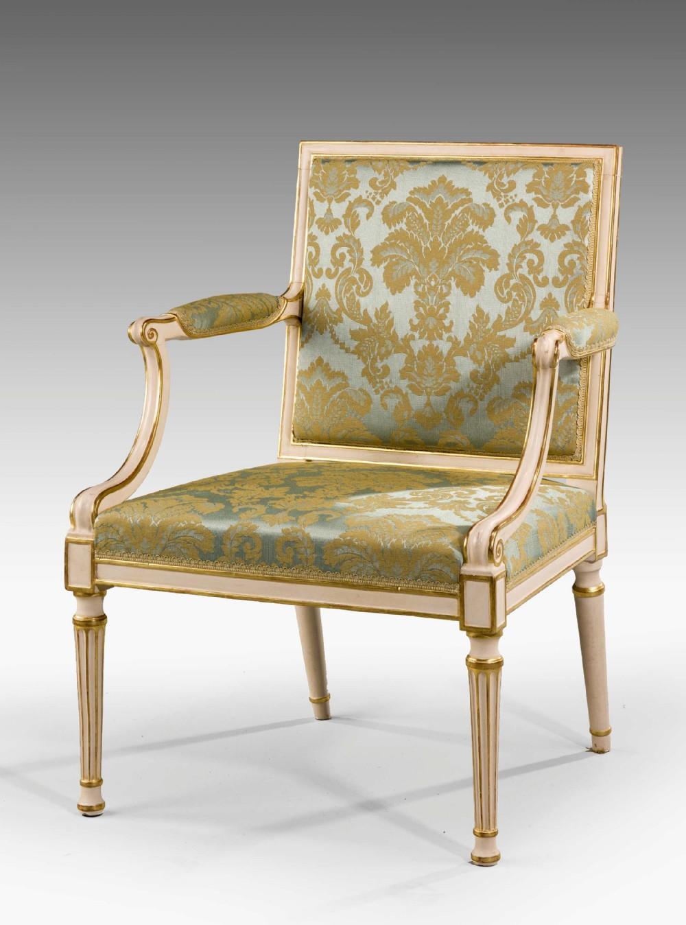 chippendale period parcel gilt elbow chair