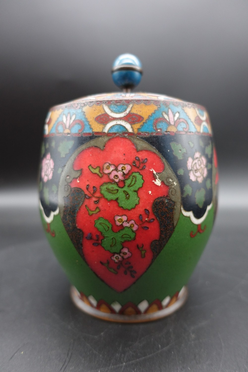an early 20th century japanese cloisonn biscuit barrel