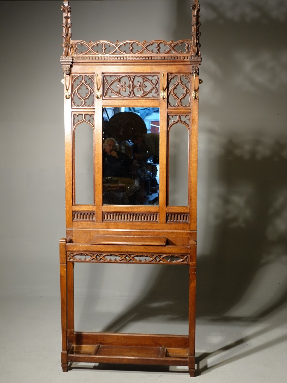 a fine quality late 19th century carved oak gothic hall stand