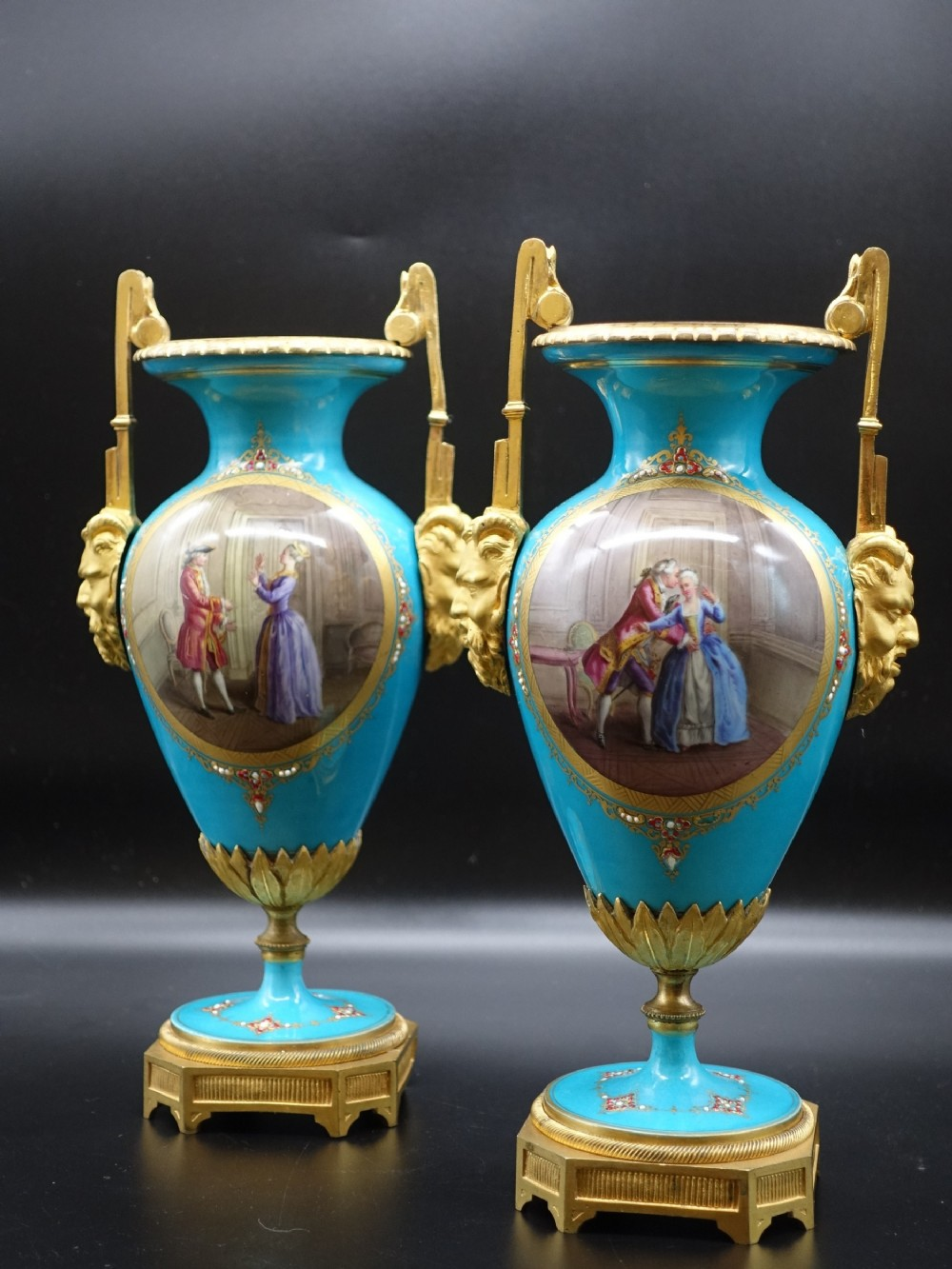an attractive pair of late 19th century sevres type vases