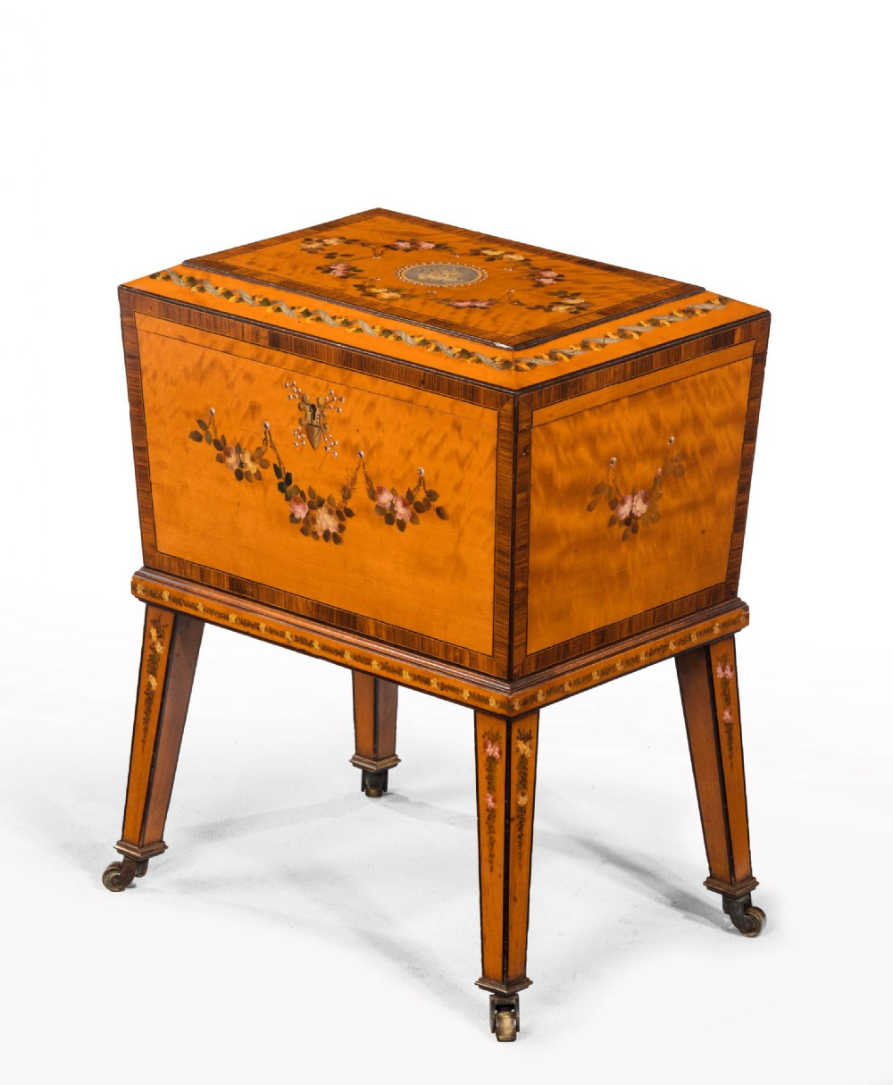 late 19th century small satinwood box on a stand