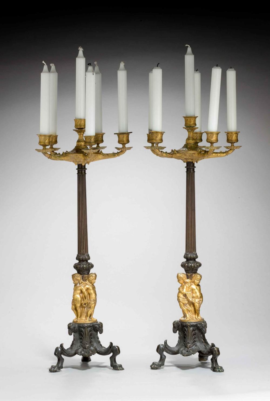 pair of 19th century six arm candelabra