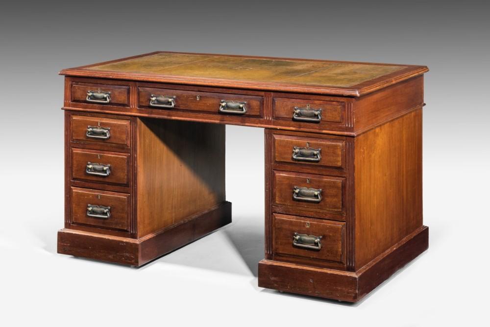 late 19th century victorian threepart pedestal desk