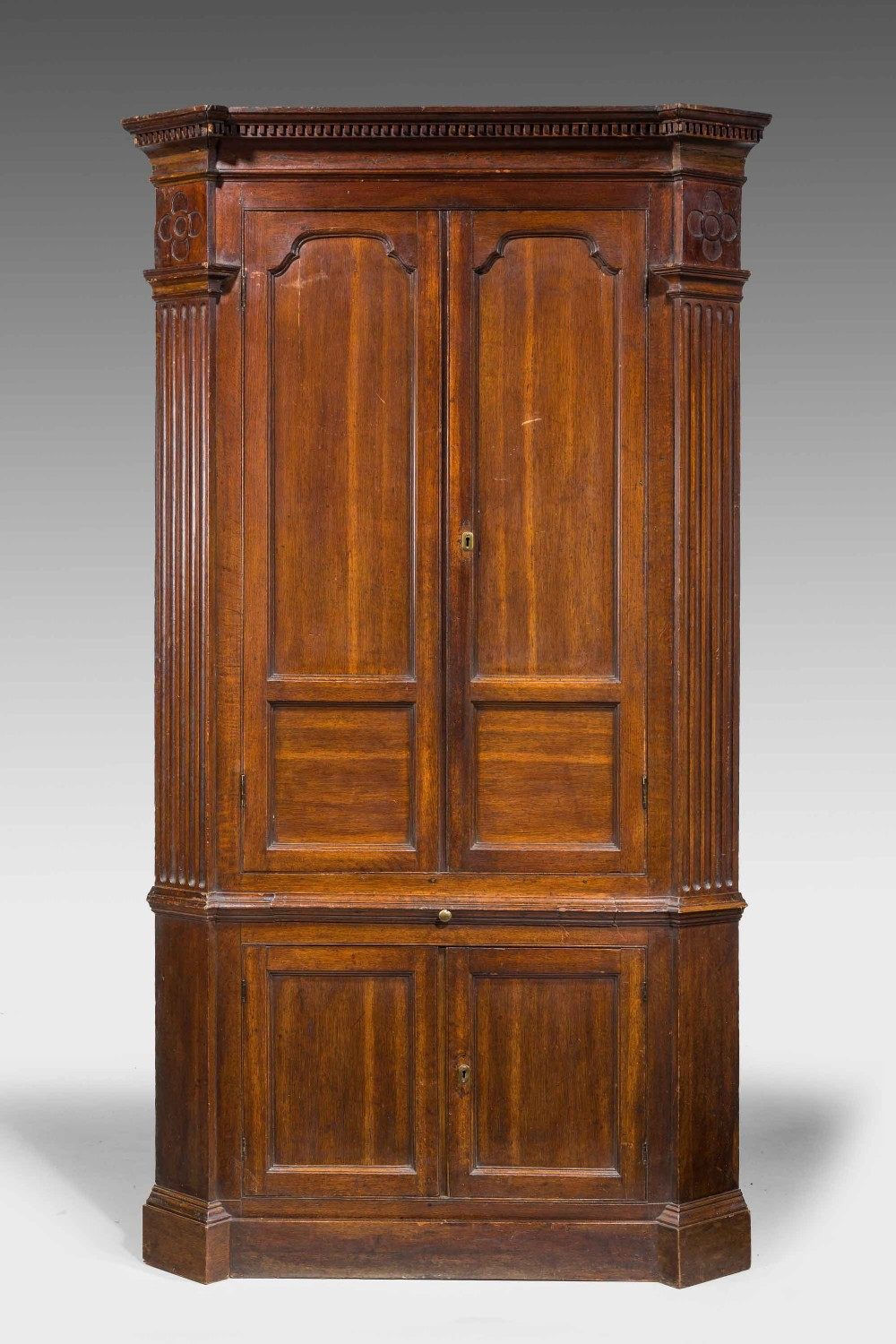 george iii oak double corner cupboard