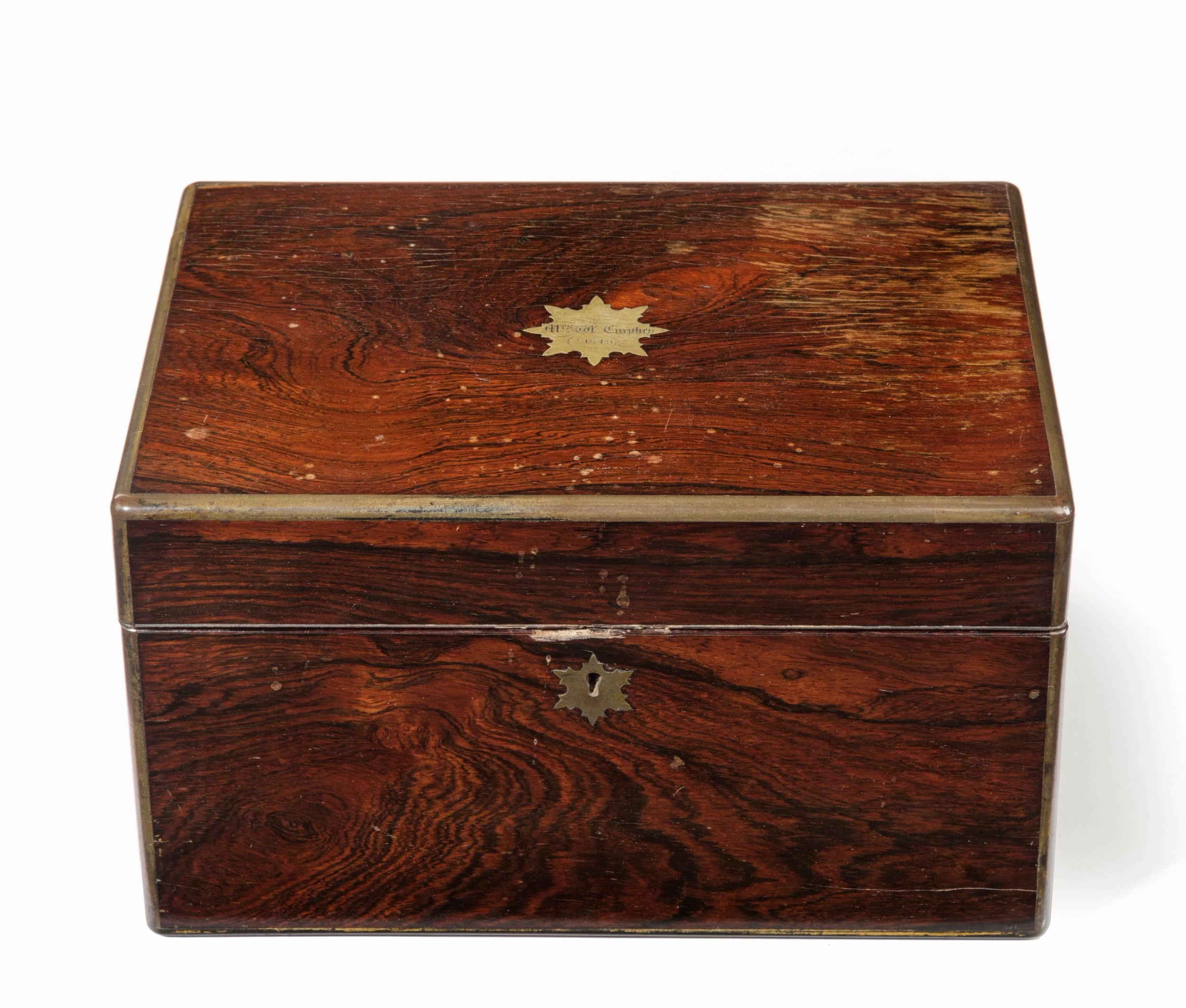 mid 19th century rosewood vanity case inlaid with brass edging