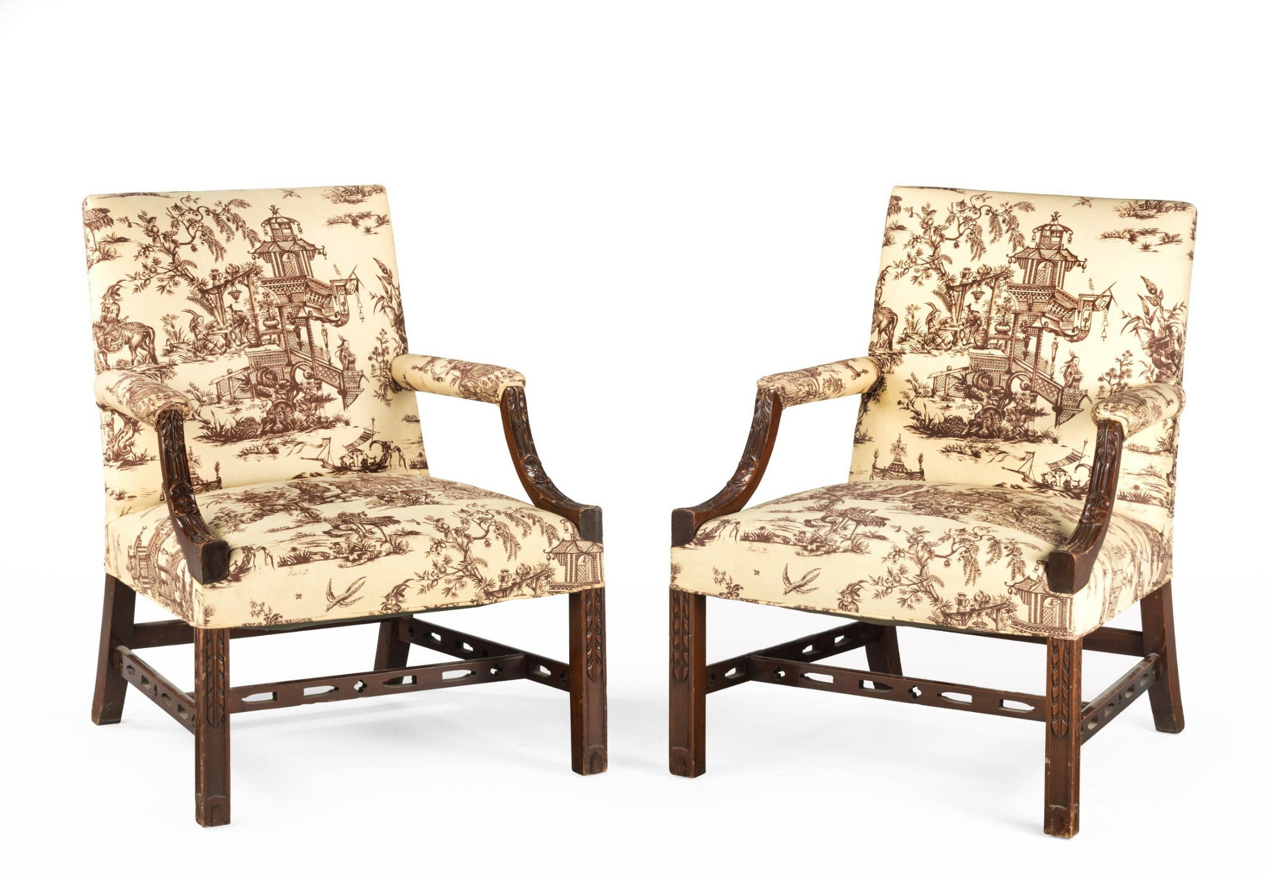 pair of early 20th century mahogany framed gainsborough chairs