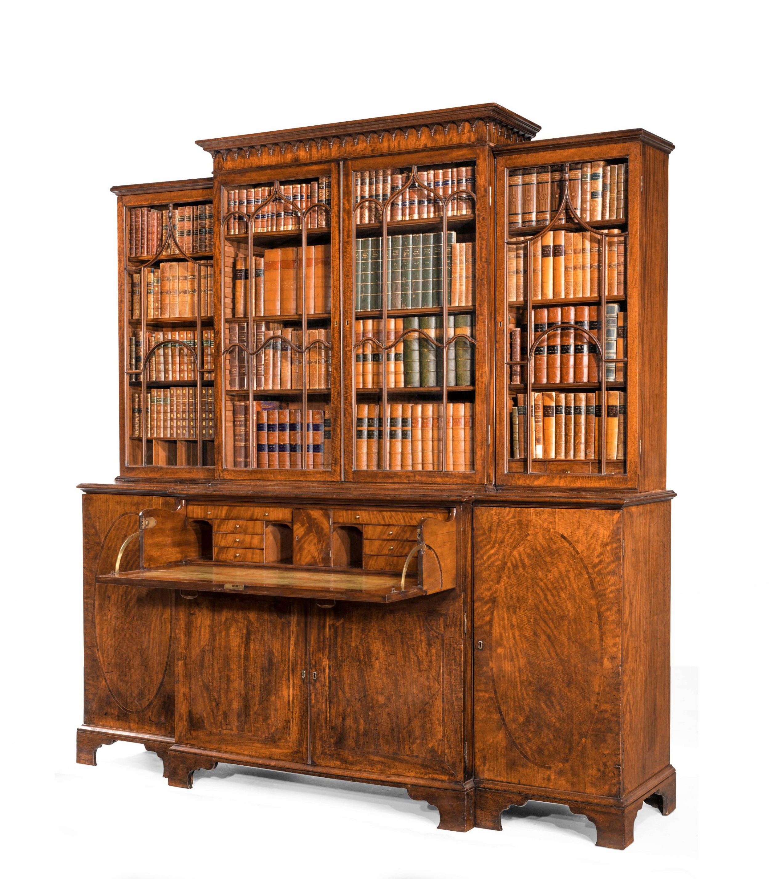 george iii period mahogany breakfront bookcase the doors with contrasting oval panels