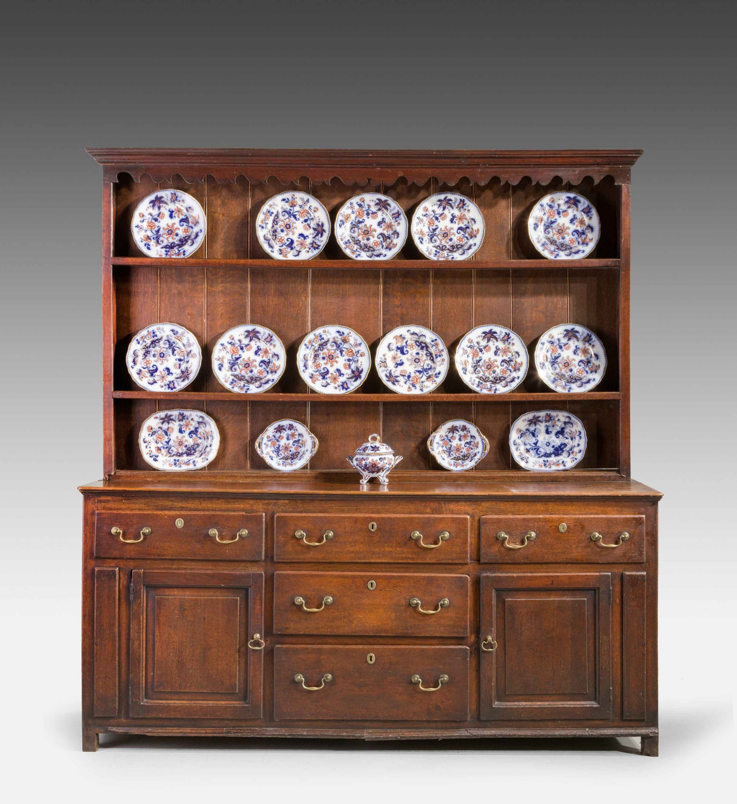 late 18th century oak dresser and rack