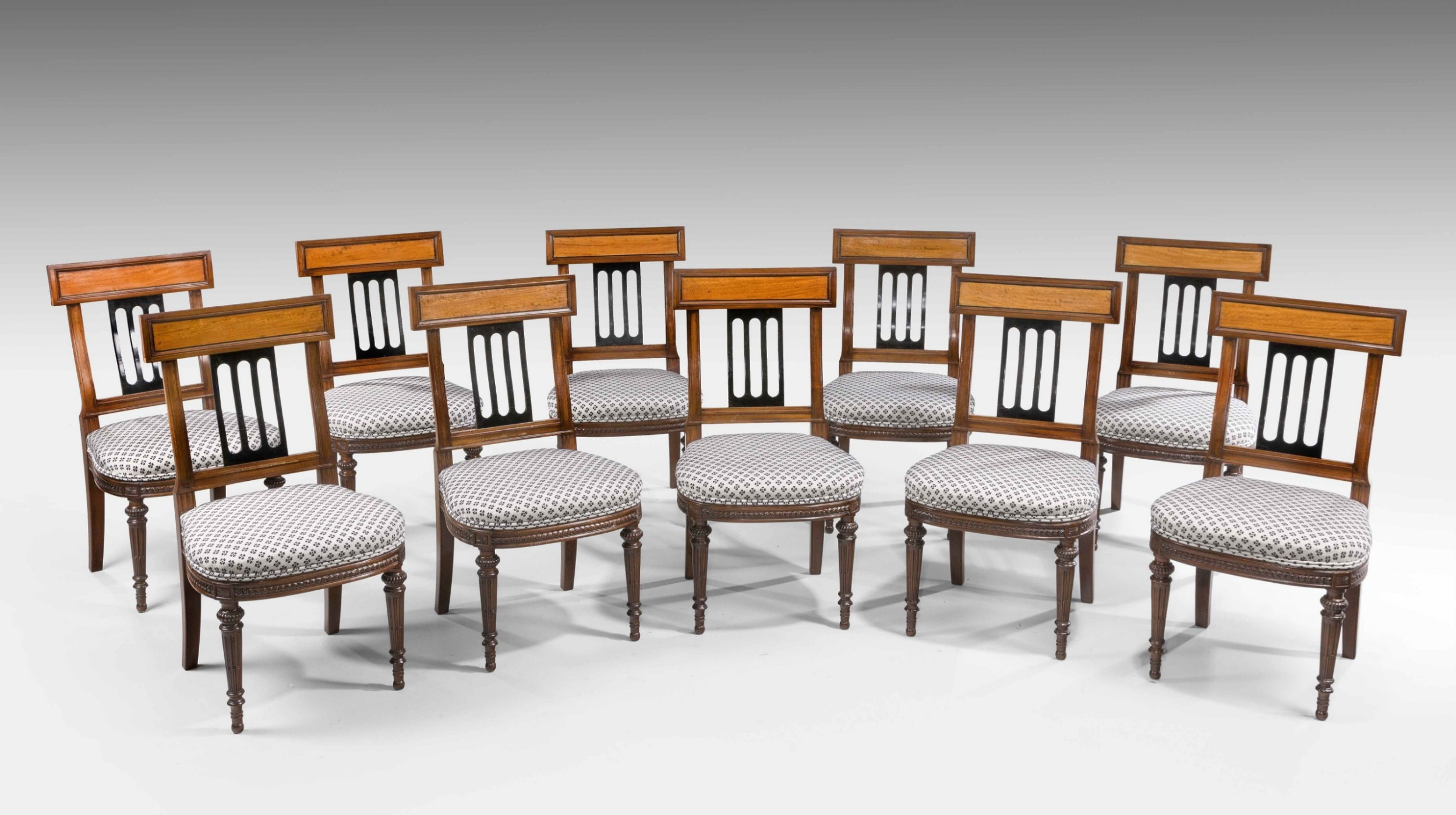 set of ten 19th century mahogany and satinwood dining chairs