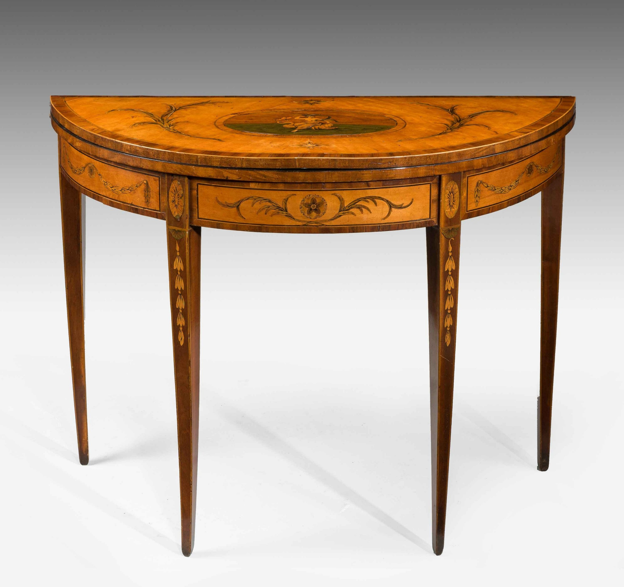 george iii period satinwood demilune card table